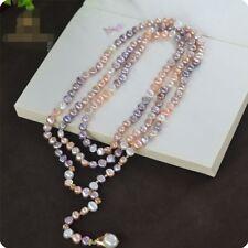 Collier Long Perle Culture Baroque Multicolore Rose Blanc Reglable 150cm TZ1a