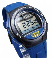 Casio W-734-2AV 60 Lap Memory Watch 5 Alarms 10 Year Battery World Time Pace New
