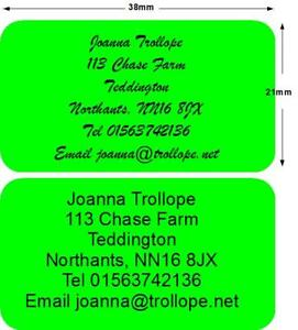 260 stickers labels return Address Personalised Green