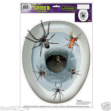1 HALLOWEEN Party Decoration Prop Bathroom TOILET Lid TOPPER Cling Scary SPIDERS