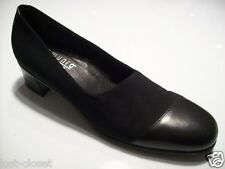 Munro Julia Black Leather Fabric Pumps Loafers Slip On Shoe Size 8.5 SS N Narrow