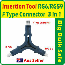 RG6/RG59 F Type Connector Insertion Tool Three in One Aus Seller