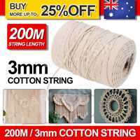 200m 3mm Macrame Beige Cord Twisted Rope Hand Craft Cotton String AU Stock