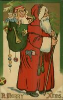 Christmas - Long Red Robe Santa Claus with Big Sack of Toys~Antique Postcard-a13