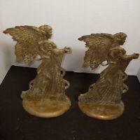 Brass Angel Candle Holder VTG Christmas Oval Base India Vintage Pair Of 2