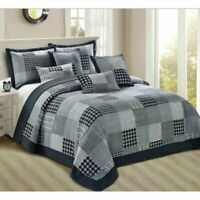 3 Piece Patchwork Quilt Bedspread New Bed Throw Comfort Bedding Set King Size UK