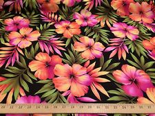 "Black With Pink/Orange Hawaiian Print 100% Polyester Crepe Fabric 58"" W BTY"