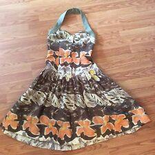 "Vintage Hanae Mori Paris Floral Printed fit flare halter dress - B 31"" XS - RARE"