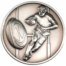RUGBY MEDALLION - ANTIQUE SILVER 2.75in PACK OF TEN