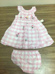 Little Me Baby Size 18 Months Pink Plaid Floral Dress