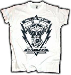 Biker Herren T-Shirt Thunder Motors Chopper Motorrad Schrauber Oldschool Weiß