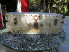 VINTAGE ENGINE TURNED Aluminium AVIATOR Chest Trunk Antique Airline FOOT LOCKER
