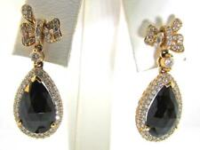 Crivelli Italy 18 KT Rose Gold Gorgeous Fancy Faceted Onyx & Diamonds Earrings