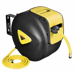 33ft 10M Retractable Auto Rewind Air Line Hose Reel Compressor Tool Wall Mounted