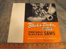 Vintage 1953 Black & Decker portable electric skill saw catalog price guide