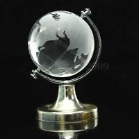 Round Earth Globe World Map Crystal Glass Clear Paperweight Stand Desk Decor !