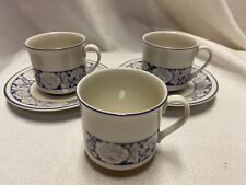5 Pc Doulton Oakdene Tea Cup and Saucer Sets Blue Band Gray Floral China England