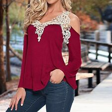 New Fashion Women Off-Shoulder Long Sleeve Shirt Casual Lace Blouse Tops T Shirt