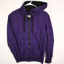 OP OCEAN PACIFIC Purple Plaid Full Zip Hoodie Sweatshirt MEN'S S SMALL