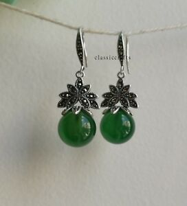 Genuine natural green Chalcedony 12mm in 925 sterling silver dangle earrings