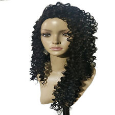 Fashion Women's Long Loose Curly Wavy Full Front Hair Wig Black Wigs Decor