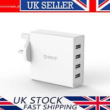 ORICO 30w 4 Fast USB Multi Ports Wall Charger UK Plug AC Travel Adapter -white