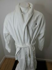 Brooks Brothers Mens White Thick Pile Cotton Belted Bath Robe Sz L/XL