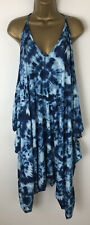 Tie Dye Jumpsuit Blue White Strappy Baggy Oversized Strappy Size 12 14 16 18