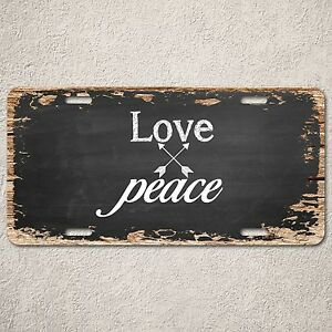 LP0240 Love Peace sign Rustic Auto License Plate Bar  Home room Cafe interior