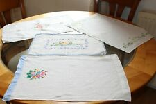 More details for four vintage embroidered dressing table tray cloths (vgc)