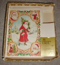 1980 New Vtg 20 Drawing Board Greeting Cards & Envelopes Father Christmas Santa