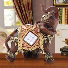 Mini Lucky Feng Shui Wood Grain Elephant Statue Sculpture Wealth Figurine Decor