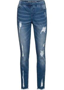 Super Skinny Jeans in Used-Optik Destroyed-Effekten Gr 42 Blau Damen-Jeans Neu*