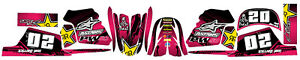 Fits Yamaha PW 50 . FREE Name & No. Custom decal graphics sticker kit. PINK