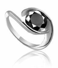 Black Diamond Birthday Ring Solitaire Round Anniversary 925 2.65Ct IGL Certified