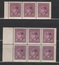 1942-3 #252b & #252c 3¢  KING GEORGE VI 2 WAR ISSUE BOOKLET PANES  F-VFNH