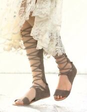 Free People Leather Suede Taupe Decibel Gladiator Lace Up Sandals Size 9 EUR 39