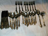 ROGERS STAINLESS FLATWARE KOREA DREAM ROSE 10 FLOWERS 36 PIECES
