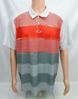 Oakley Mens Polo Shirt Size XL Gray Red White Short Sleeve