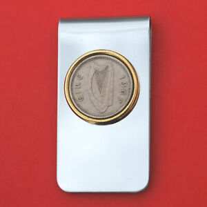 1967 Ireland 3 Pence Coin Two Toned Stainless Steel Money Clip New - Lucky Hare