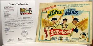Mickey Mantle Signed 1962 Safe At Home Lobby Card Autographed Yankees JSA *520