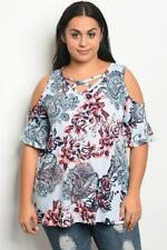 NEW..Stunning Stylish Plus Size Blue Floral Print Cold Shoulder Top ..Sz18/2XL