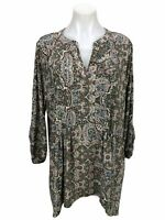 Dress Barn Westport Floral Paisley Ruched 3/4 Sleeve Tunic Top Women's Size 2X