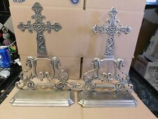Large Pewter Gothic Cross Book Ends