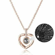 Rose Gold Love In Every Language Heart Necklace Created with Swarovski® Crystals