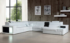 NEW Contemporary Living Room White Bonded Leather Sofa Couch Sectional Set IGVX