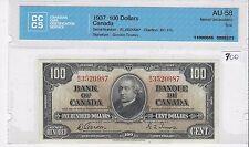 **1937**Gordon/Towers Canada $100 Note CCCS AU-58; SN/ BJ 3520987