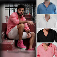 US Summer Men's Casual Cotton Linen Shirts V-neck Shirt Loose Comfy Casual Tops