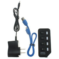 4 Port USB 3.0 Hub High Speed 5Gbps Power Adapter For PC Laptop W/ On/Off Switch