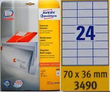 *** TOP Avery-Zweckform 3490 Etiketten, 70 x 36 mm, 600 Stück ***